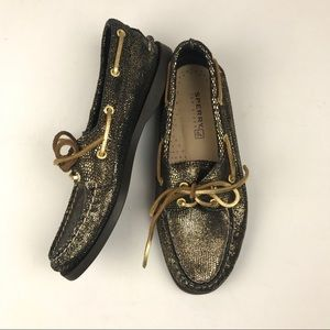 Sperry Black and Gold Boat Shoes 7